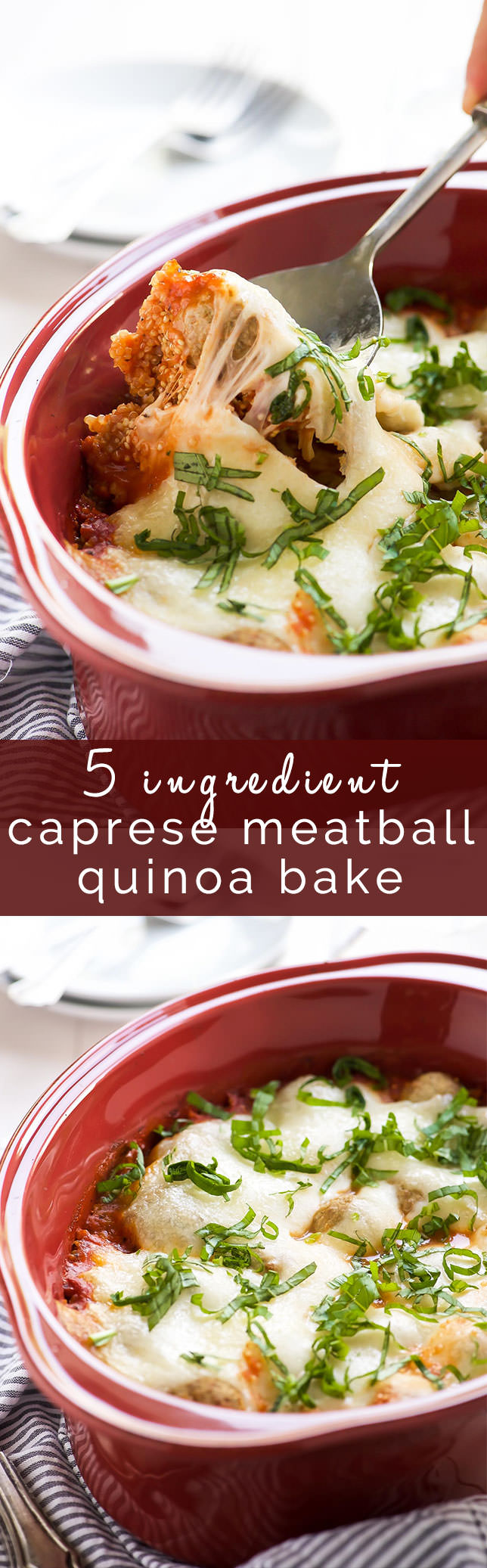 This 5 Ingredient Caprese Quinoa Bake Recipe is a dinner time savor! It requires no prior cooking and filled with gooey cheese, heart-healthy quinoa, turkey meatballs and fresh basil. It freezes wonderfully so make two!