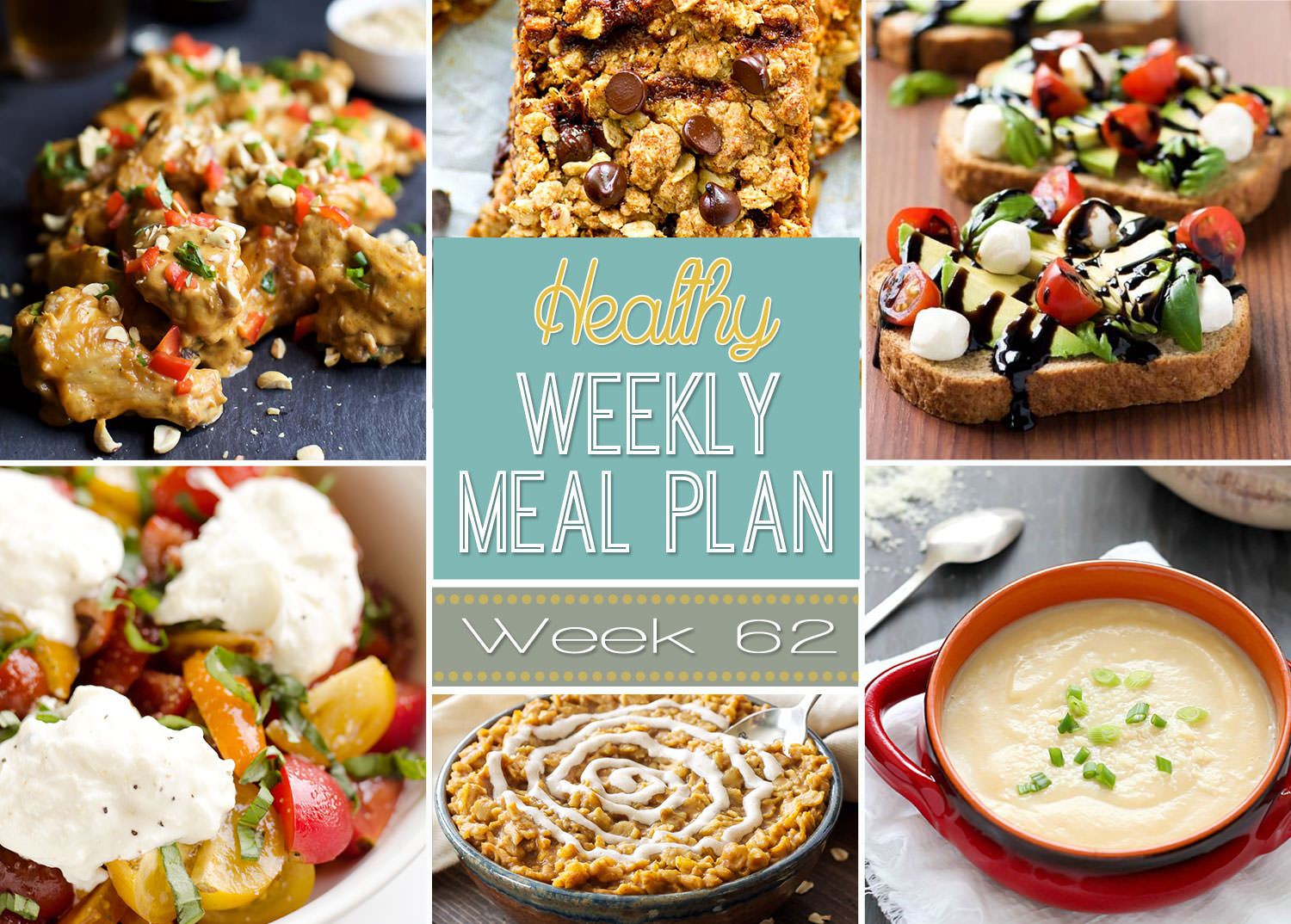 This weeks healthy meal plan is filled with comforting foods like creamy cauliflower soup and skinny spaghetti squash chicken parmesan!