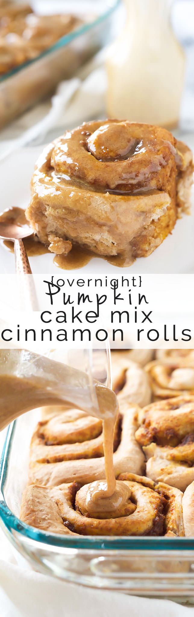 Pumpkin Cake Mix Cinnamon Rolls With Brown Sugar Maple Glaze