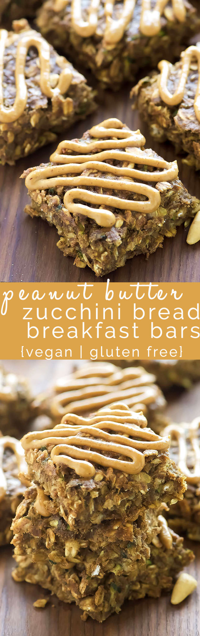 Peanut Butter Zucchini Bread Breakfast Bars are a delicious yet sneaky way to get more veggies in! With only 120 calories, they are refined sugar free, vegan and gluten free. Perfect start to your day or for a pick me up!