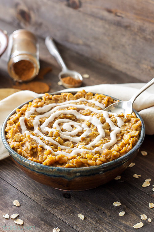 Pumpkin and cinnamon roll flavors come together in one harmonious and comforting bowl of oatmeal! Top it with the cream cheese frosting for a sweet, but not over the top fall breakfast!