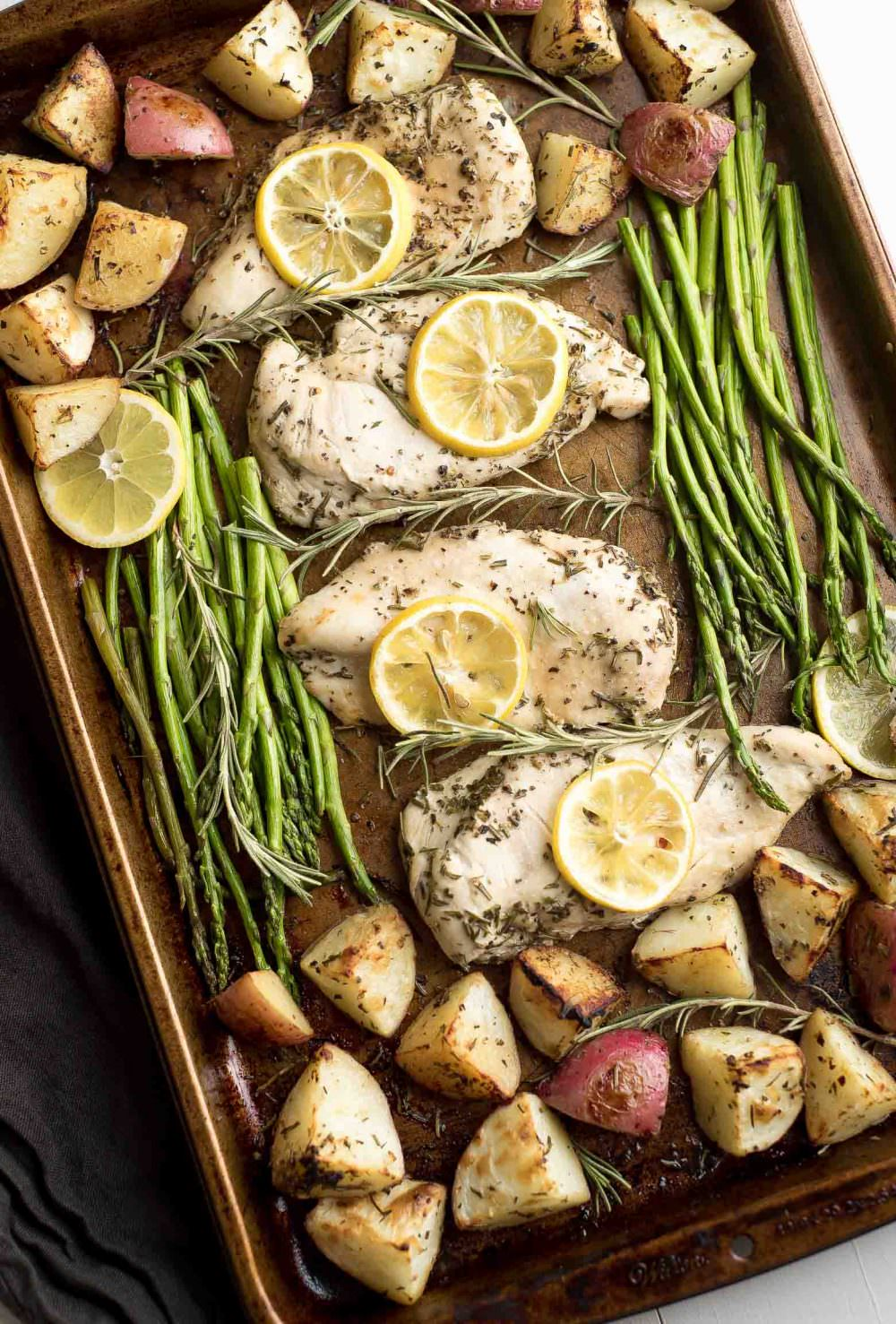 Healthy Lemon Rosemary Chicken Sheet Pan Dinner with Roasted Potatoes {Recipes, Low Carb, Easy Meals, Veggies, Ovens, Suppers Roasted Potatoes}