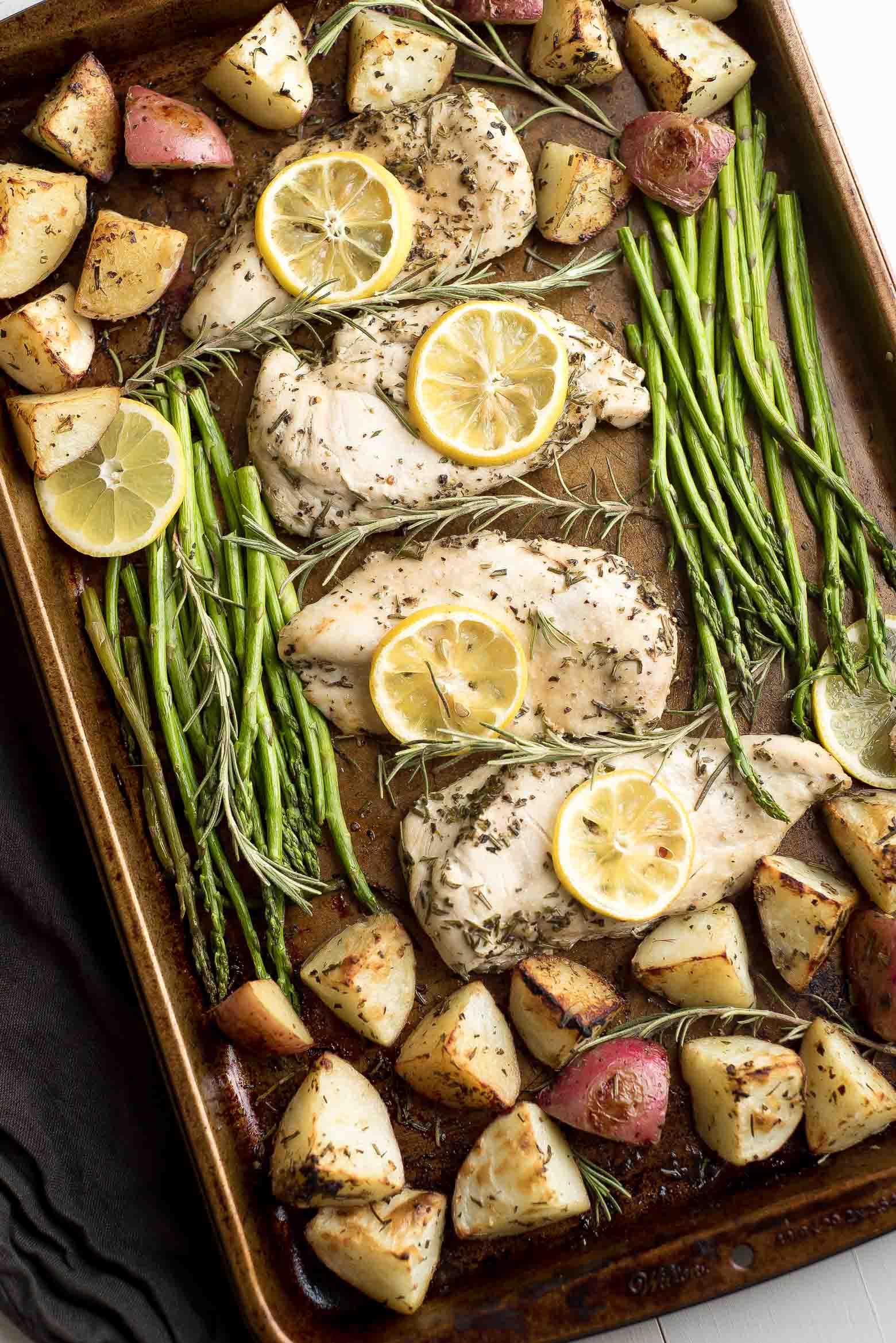 Lemon Rosemary Chicken Sheet Pan Dinner