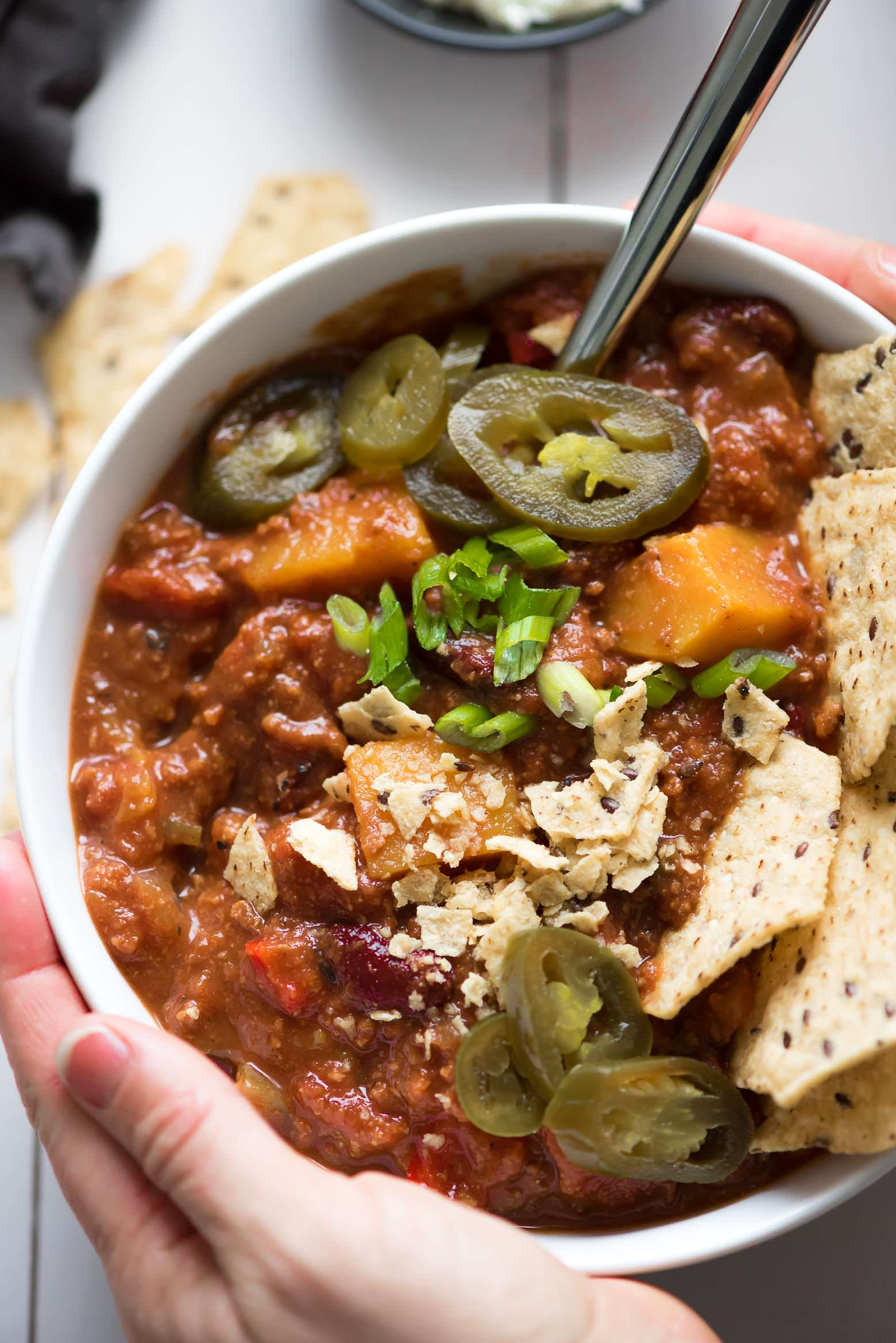 Easy Spicy Healthy Slow Cooker Chili Recipe, Chipotle Ground Turkey, Crockpot, Gluten Free, Butternut Squash, Beans, Spicy, Clean, Comfort Foods