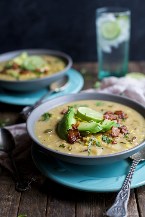 Soup is one of the stars of the fall but this Crock Pot Potato Corn Chowder with Roasted Poblanos is gonna take the cake! It's full of bold flavors, easy to make, gluten free, dairy free, and has BACON!