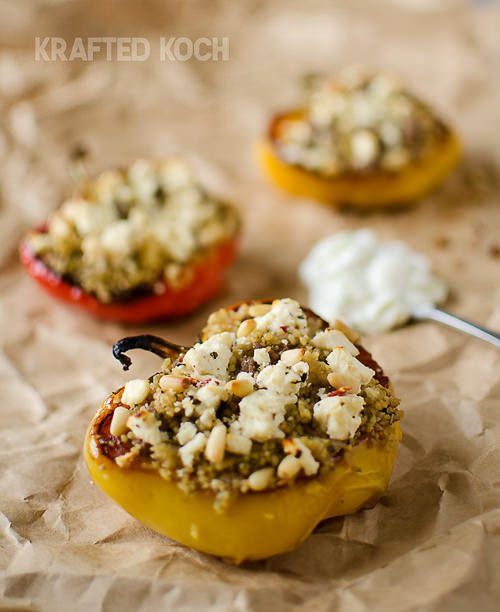 These sweet roasted peppers are loaded with bold Mediterranean flavors including ground lamb, feta and lemon and topped with crunchy toasted pine nuts. It pairs perfectly with a side of creamy tzatziki!