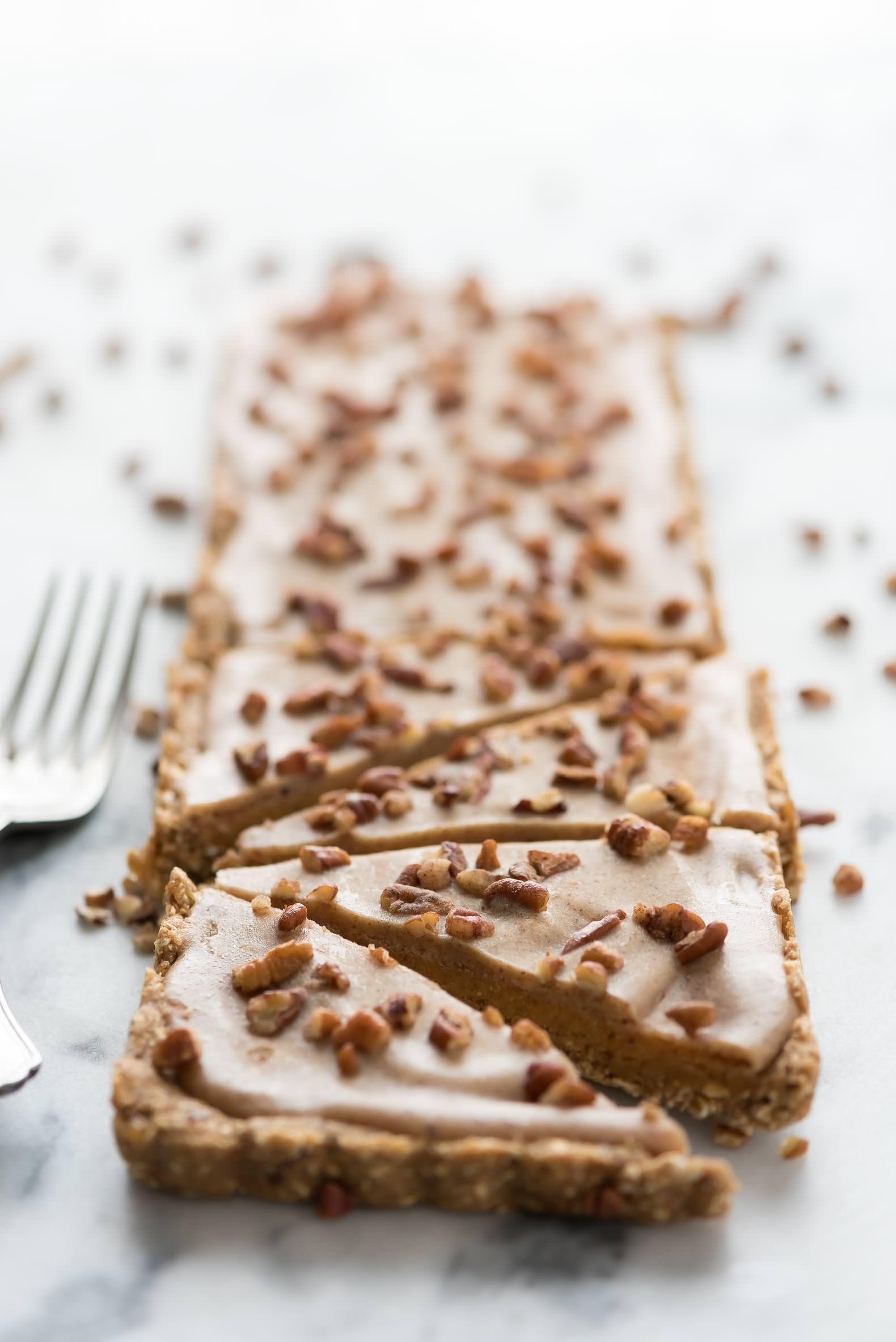 No Bake Pumpkin Bars, Healthy Snack, Diary Free, Almond Butter, Honey, Fall Dessert, Thanksgiving, Caramel, Gluten Free