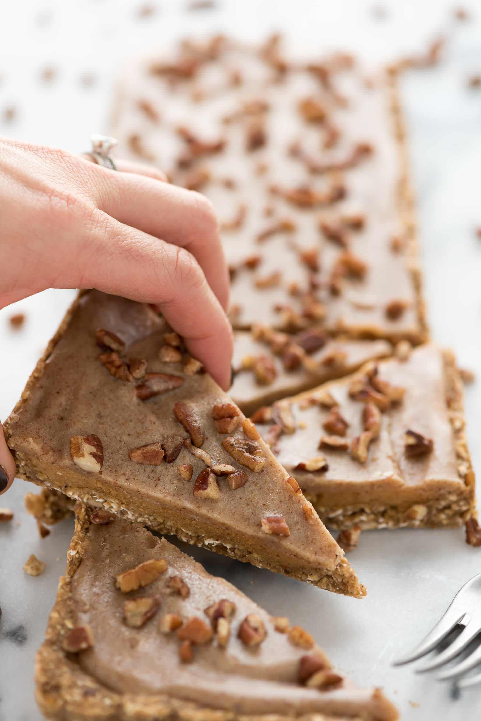 No Bake Pumpkin Bars, Healthy Snack, Diary Free, Almond Butter, Honey, Fall Dessert, Thanksgiving, Caramel, Gluten Free