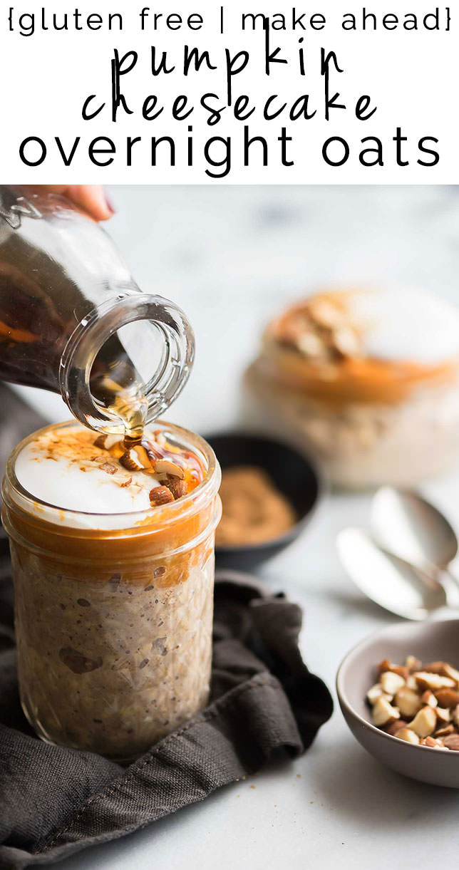 Pumpkin Cheesecake Overnight Oats are a step up from basic overnight oats in a jar! Filled with spice and a creamy cheesecake layer, they are a dessert inspired, healthy breakfast!