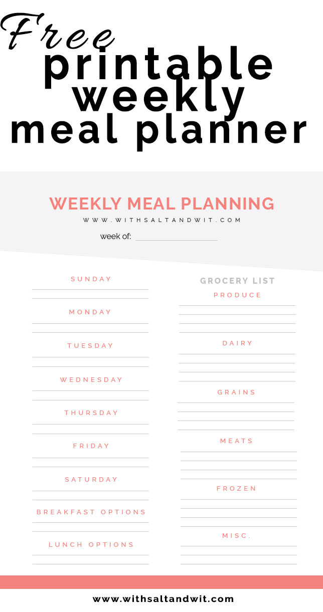 photograph regarding Meal Planner Free Printable referred to as No cost Printable Weekly Evening meal Planner with Grocery Checklist