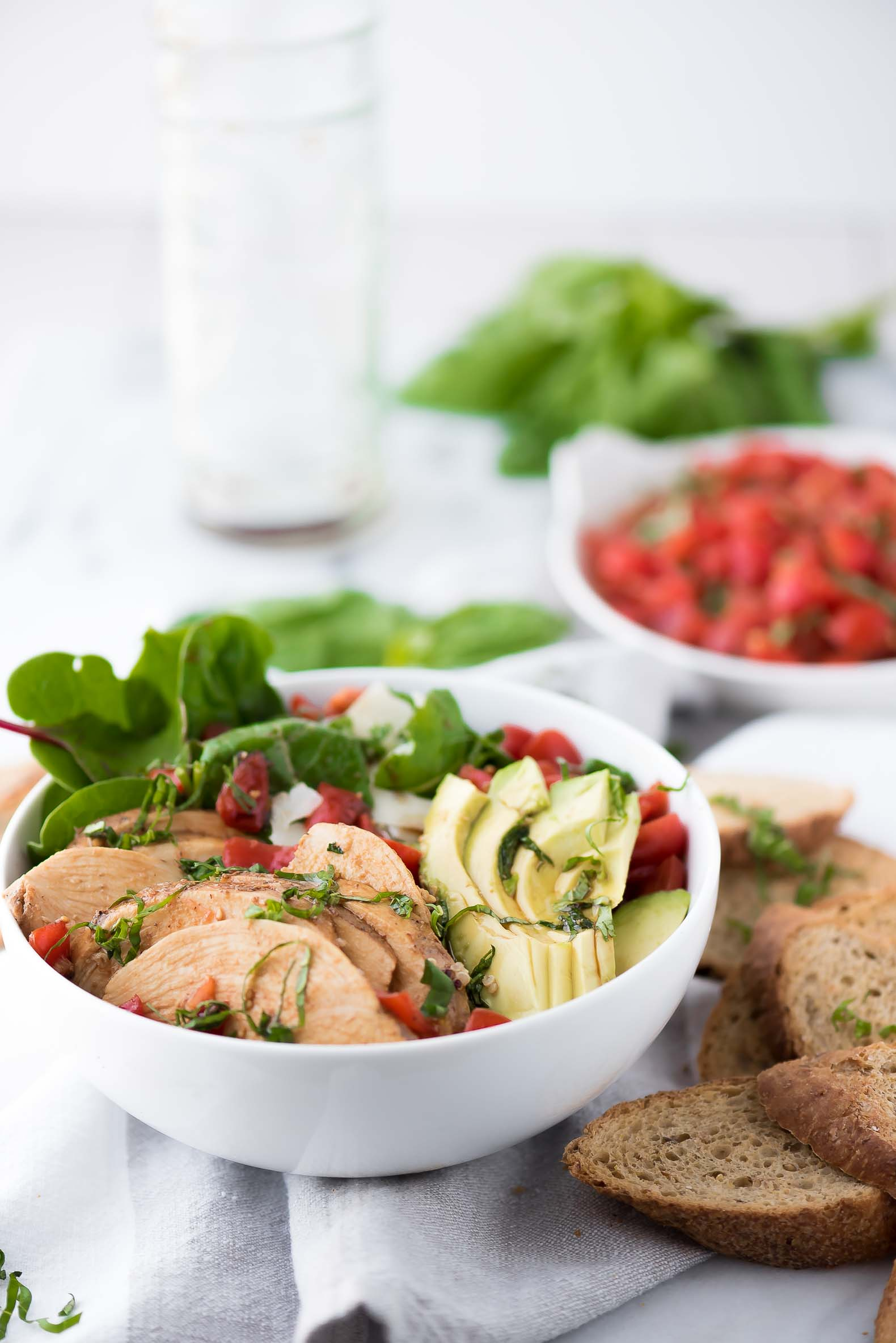 Avocado Bruschetta Chicken Salad, Gluten free, dinners, healthy living, avocado, healthy, low carb, tomatoes, recipes, meals, easy, simple,