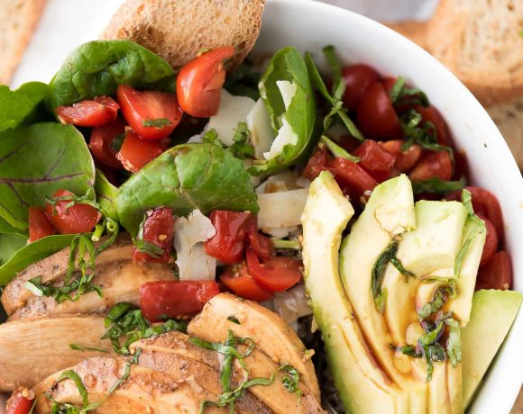 Avocado Bruschetta Chicken Salad Bowls