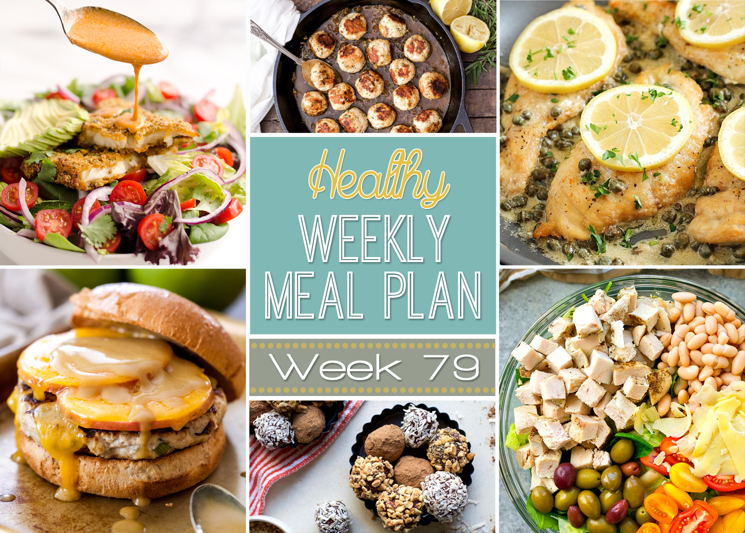 This week's healthy meal plan is Apple Cheddar Turkey Burgers and a Southwest Tortilla Crusted Tilapia Salad!