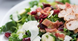 Shredded Brussels Sprouts and Kale Salad with Parmesan and Bacon
