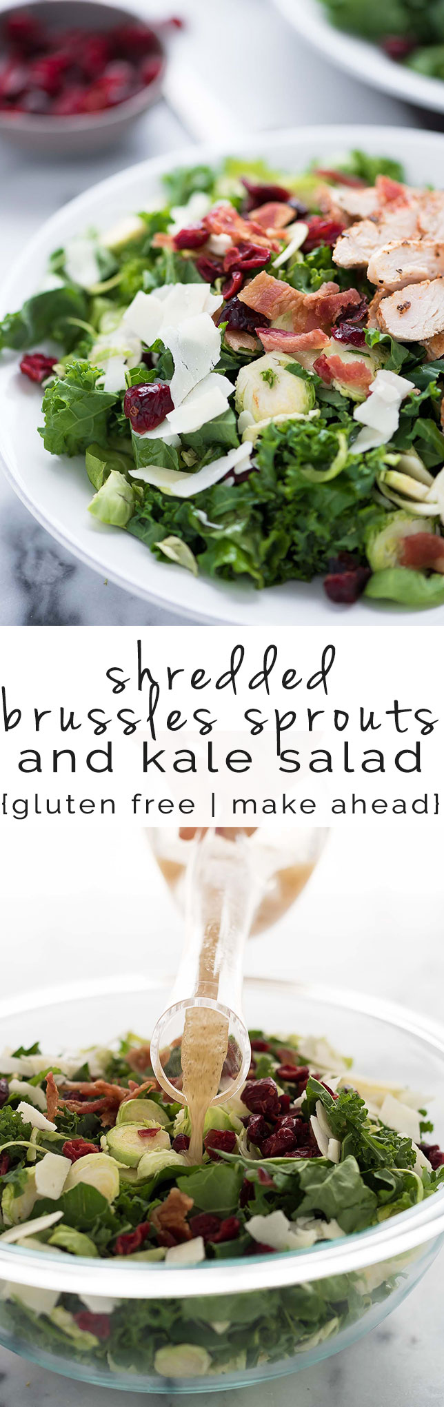 Shredded Brussels Sprouts salad, with bacon, healthy, cranberries, recipe, gluten free, dried cranberries, cheese, parmesan,