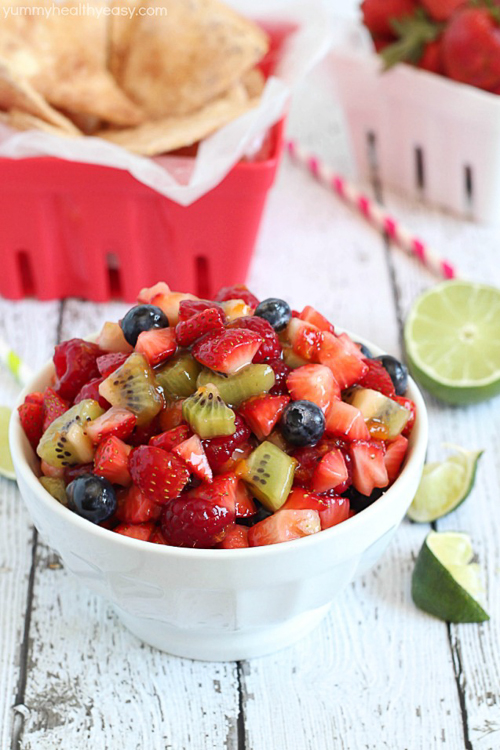 Delicious fruit salsa with easy and delicious cinnamon chips. The perfect healthy snack/dessert to satisfy your sweet tooth!