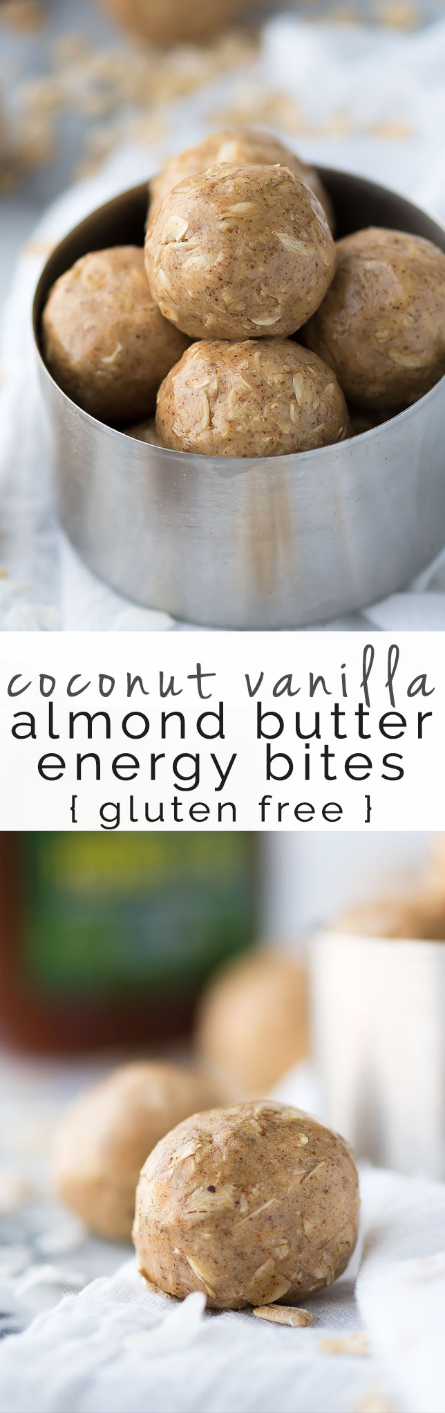 Coconut Vanilla Almond Butter Energy Bites require only 5 ingredients and only a few minutes of your time to have a sweet, salty and a wholesome snack!